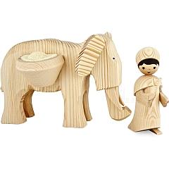Treiber mit großem Elefant 13 cm natur