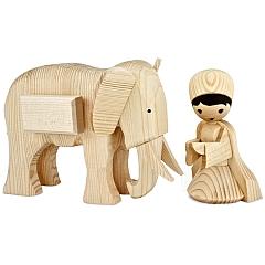 Treiber mit kleinem Elefant 13 cm natur