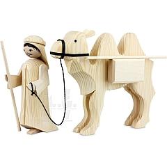 Treiber und Kamel mit Paketen 22 cm natur