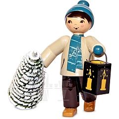 Winterkind Baumdieb Junge mit Laterne und Baum türkis