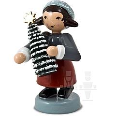 Geschenkemädchen mit Baum rot