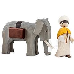 Treiber mit Elefant 22 cm gebeizt