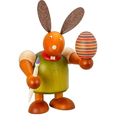 Maxi Hase grün mit Pinsel und Ei 24 cm