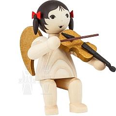 Schleifenengel mit Geige sitzend gebeizt