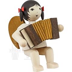 Schleifenengel mit Akkordeon sitzend gebeizt
