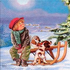 Serviette - Max mit seinen Hunden