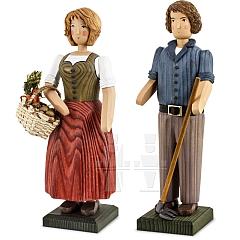 Bauernpaar groß mit Hacke und Gemüsekorb