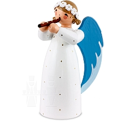 Engel mit Blockflöte weiß