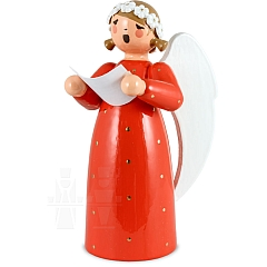 Engel mit Notenblatt rot