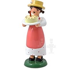Gratulantenmädchen mit Torte