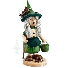 Räucherfigur Wichtelfrau mit Pilzkorb grün