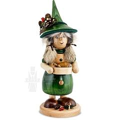 Räucherfigur Wichtelfrau mit Pfanne grün