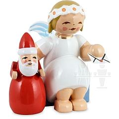 Margeritenengel sitzend mit Weihnachtsmann