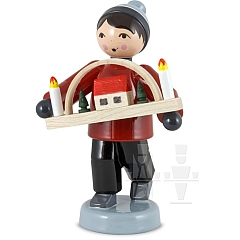 Erzgebirgsverkäufer Junge mit Schwibbogen rot