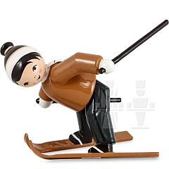 Skianfänger Junge Schneepflug fahrend braun