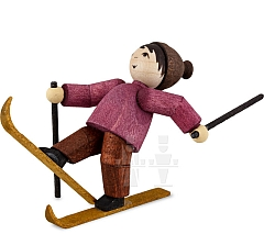 Skianfänger Junge fallend gebeizt