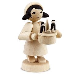 Erzgebirgsverkäufer Mädchen mit Spieldose natur
