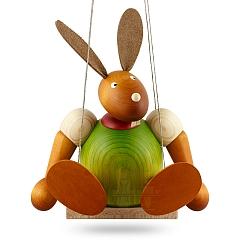 Maxi Hase grün auf Schaukel 24 cm