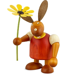 Maxi Hase rot mit Blume 24 cm