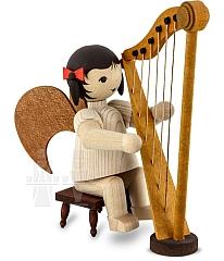 Schleifenengel an der Harfe gebeizt