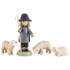 Shepherd with three sheeps