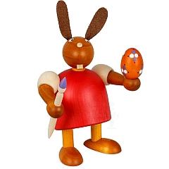 Hase rot mit Pinsel und Ei 11 cm
