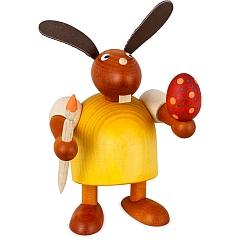 Hase gelb mit Pinsel und Ei 11 cm