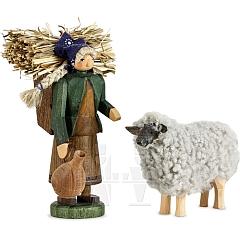 Bäuerin in rhöner Arbeitstracht mit Schaf