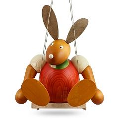 Maxi Hase rot auf Schaukel 24 cm