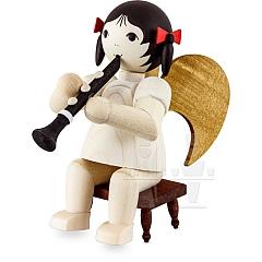 Schleifenengel mit Klarinette auf Hocker gebeizt