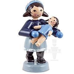Geschenkemädchen mit Puppe blau von Ulmik