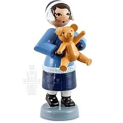 Geschenkemädchen mit Teddy blau von Ulmik