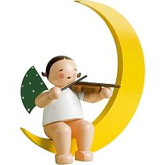 Engel mit Geige im Mond groß