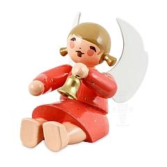 Engel sitzend mit Glocke rot