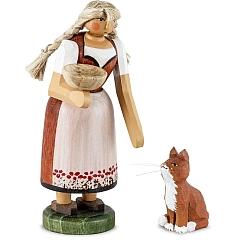 Bäuerin mit Katze