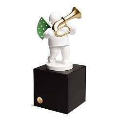 Engel mit Basstrompete auf mittlerem Sockel Edition Klangfarbe Weiß von Wendt & Kühn