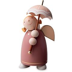 Schutzengel Größe 3 mit Schirm, Rosenholz