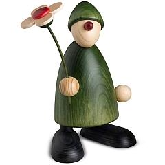 Gratulant Phillip groß mit Blume stehend grün