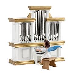 Kurzrockengel farbig an der Orgel mit Spielwerk