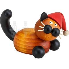 Weihnachts Katze Bommel auf der Lauer