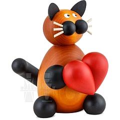 Katze Bommel mit Herz groß