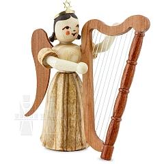 Faltenlangrockengel Naturholz Harfe