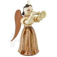 Faltenlangrockengel Naturholz Trompete