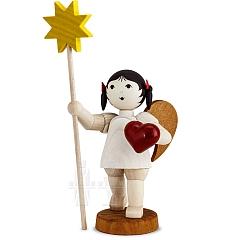 Schleifenengel mit Herz und Stern gebeizt