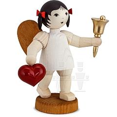 Schleifenengel mit Herz und Glocke gebeizt