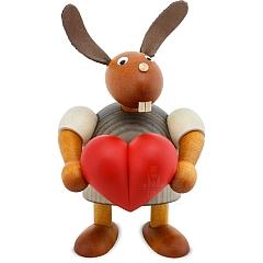 Hase mit Herz grau 11 cm
