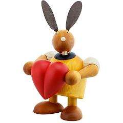 Maxi Hase gelb mit Herz 24 cm