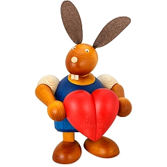 Maxi Hase blau mit Herz 24 cm