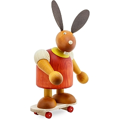 Maxi Hase rot mit Skateboard 24 cm