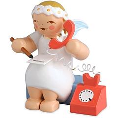 Margeritenengel sitzend mit Telefon